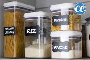 Des boites en plastique pour ranger les pâtes et féculents
