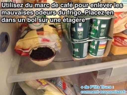 comment se débarrasser des mauvaises odeurs dans le frigo à cause du marc de café