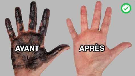 Main très sale à gauche pleine de cambouis et main propre à droite