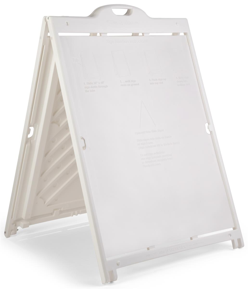sidewalk sign frame for 36 x 48 coroplast boards double sided rolling base white