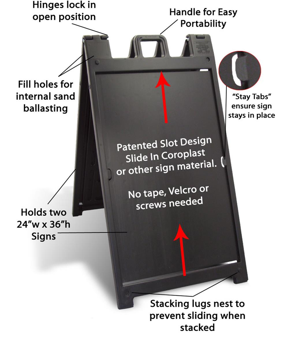 sidewalk sign for 24 x 36 poster boards double sided fillable base black