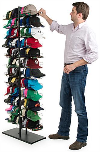 hat display rack floorstanding 24 pockets black