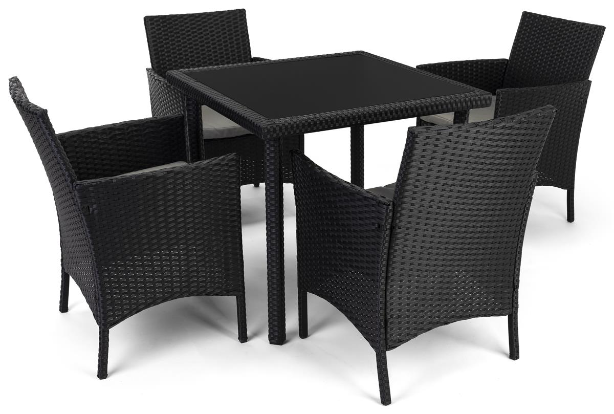 outdoor lounge set w 29 h tabletop 4 cushioned chairs synthetic rattan dark brown