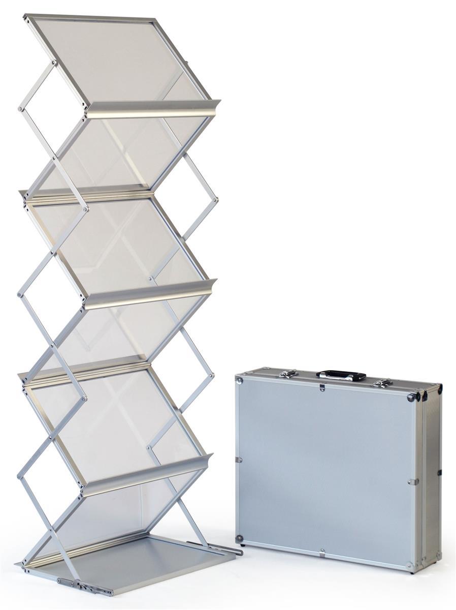 5 pocket portable literature floor stand w hard case adjustable 18 75 w silver