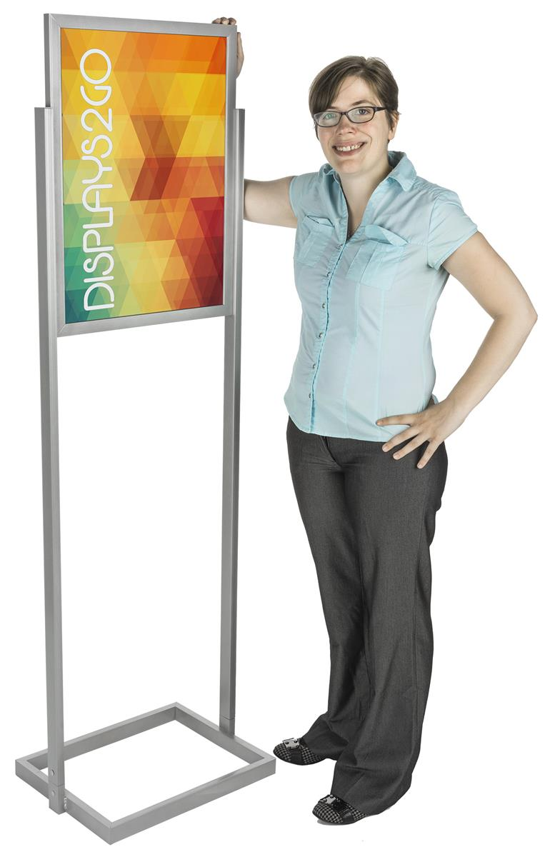 silver 18x24 poster stands double sided