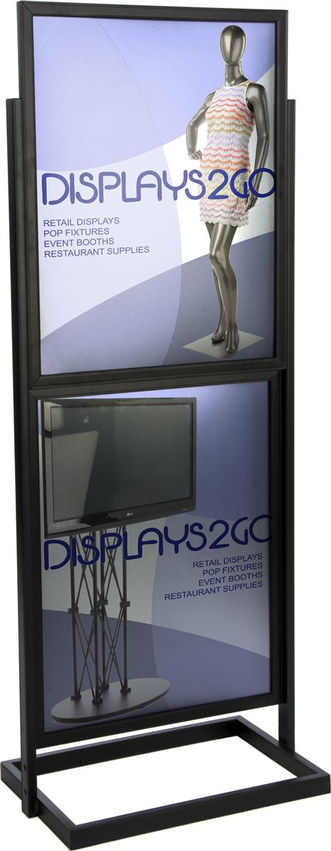 22 x 28 poster stand for floor top insert double sided holds 4 graphics black