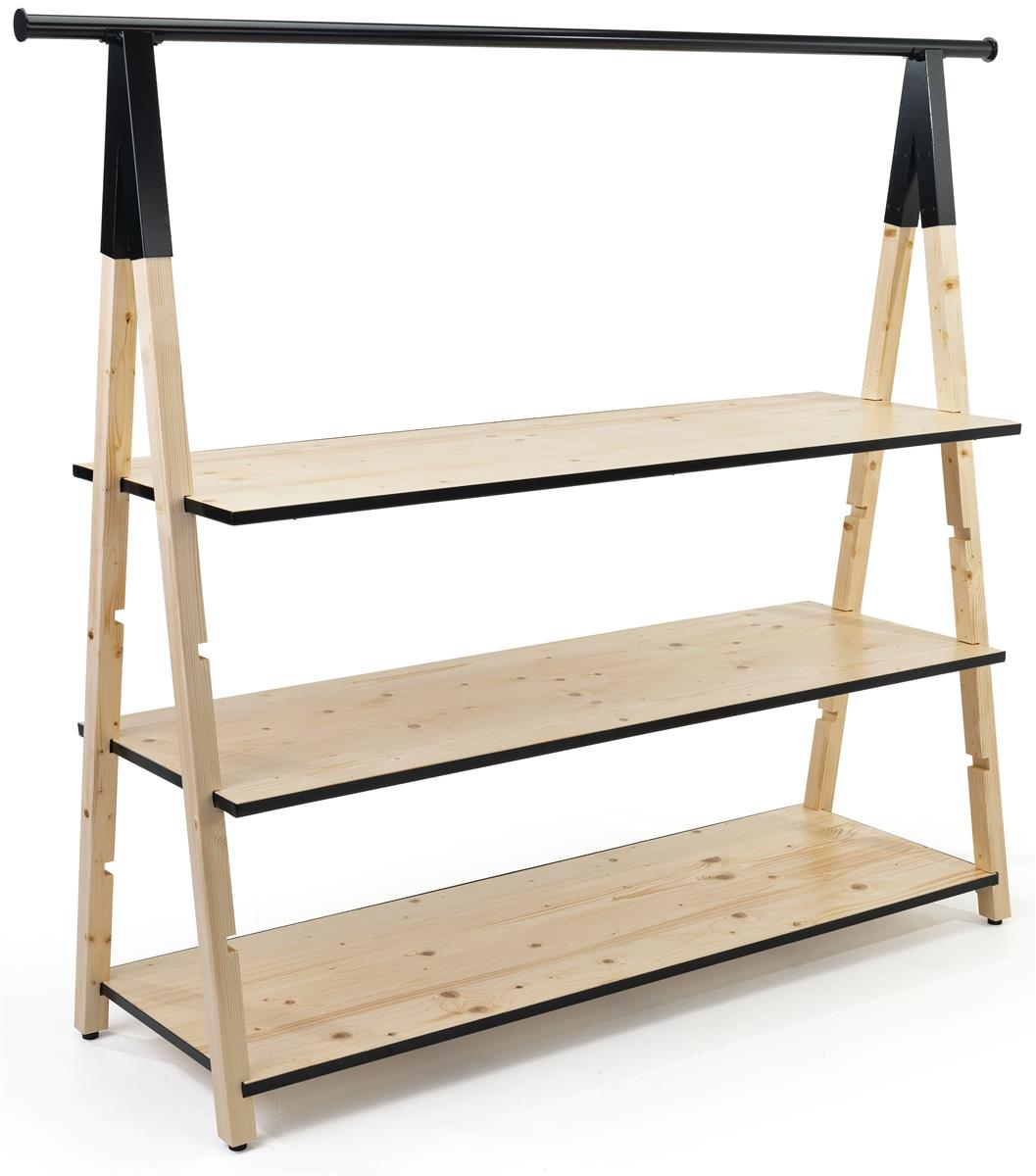 72 x 51 wooden a frame clothing rack adjustable shelves metal piping natural