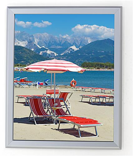 16 x 20 poster frame for wall snap open 32mm profile silver