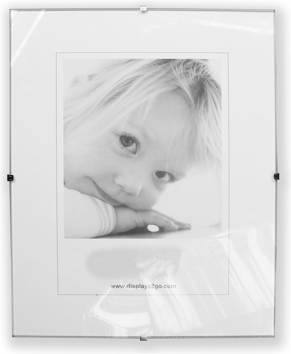 16 x 20 glass clip poster frame for wall 7 side clips clear