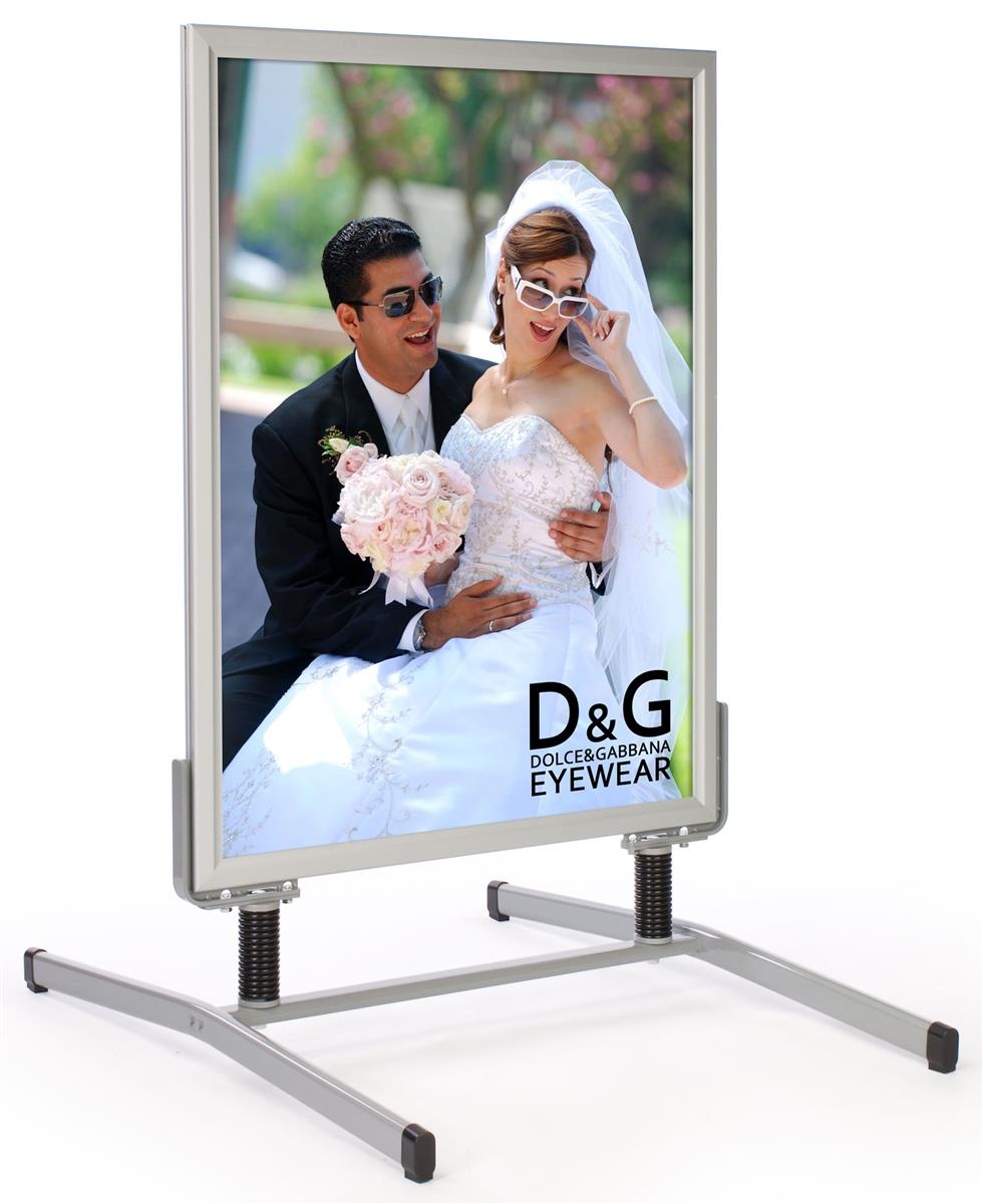 30 x 40 sidewalk sign for posters with spring base 2 sided snap open silver