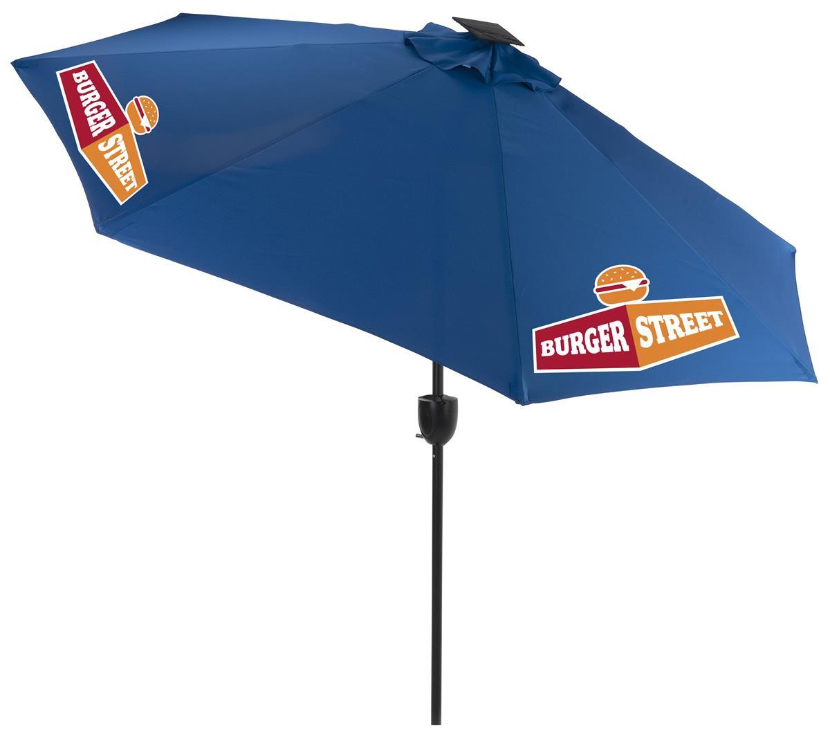 9 patio umbrella 3 color printing led lights bluetooth speaker royal blue