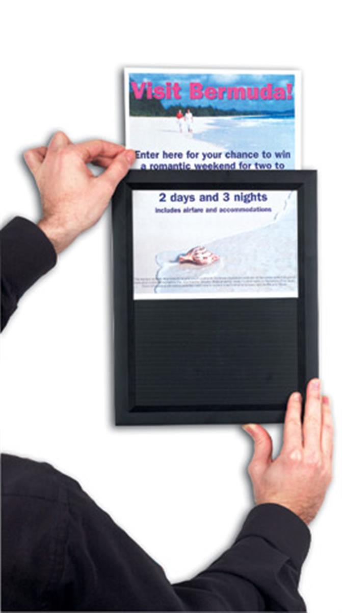 11 x 17 sign holder for wall mount easy slide in setup black