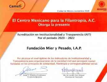 CEMEFI reconoce la Institucionalidad y Transparencia de la Fundación Mier y Pesado
