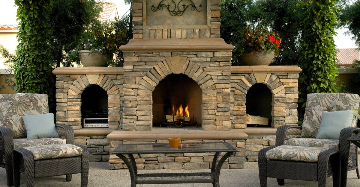 concrete outdoor fireplace ideas for
