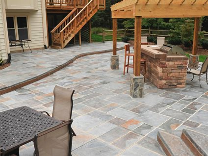 Stone Patios  Stamped Concrete Mimics Stone Pavers  The