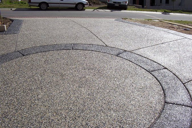 exposed aggregate circle concrete driveways hendersons concreting services pty ltd new south