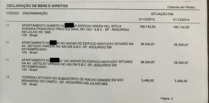 declaracao 2015 - Lula diz que entrou e saiu do governo com os mesmos imóveis