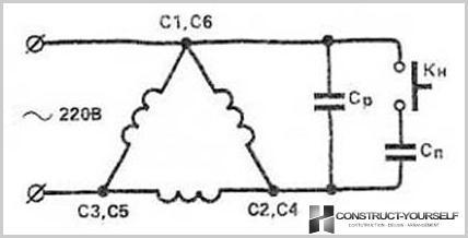 Wiring 380V Dreiphasen-Elektromotor durch den Kondensator