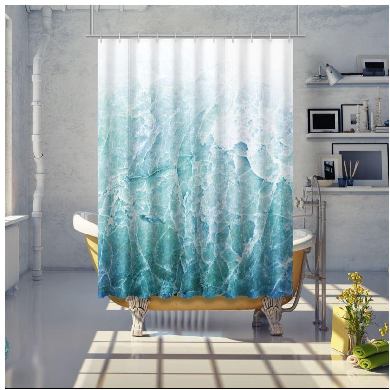sea marble shower curtain