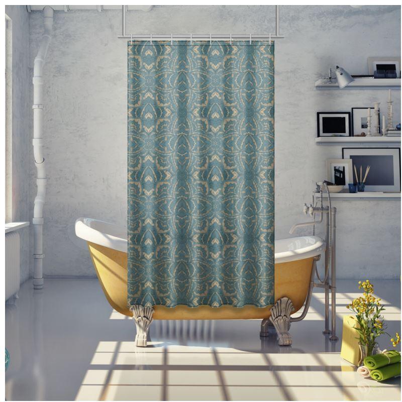 art deco mandala blue teal gold shower curtain