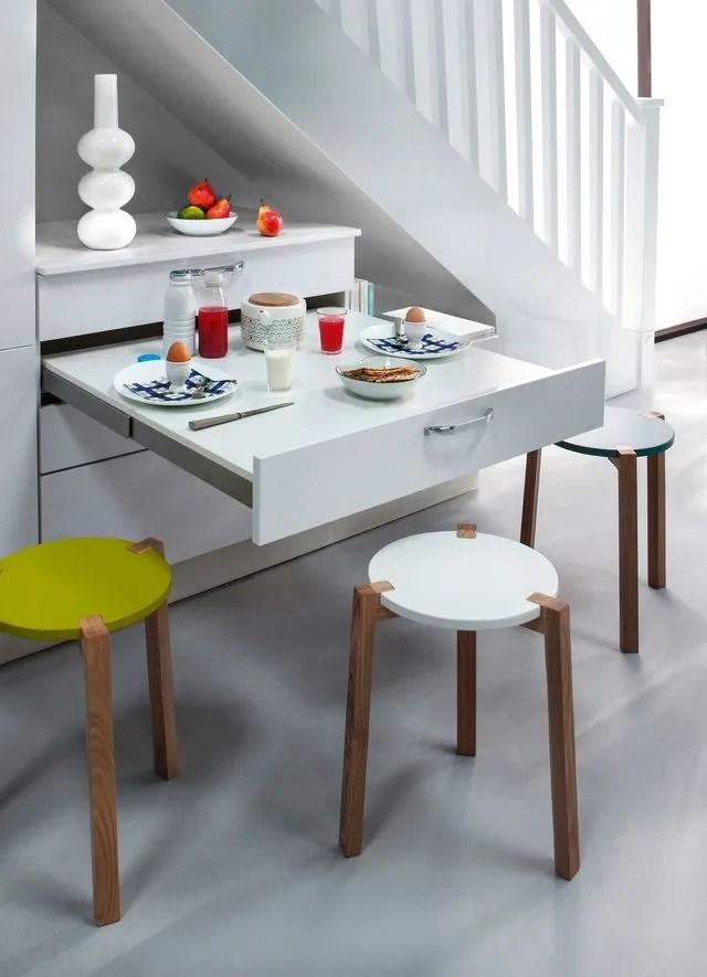 table cuisine escamotable ou rabattable