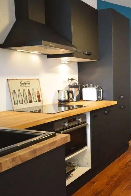 Cuisine en noir et bois  Ct Maison