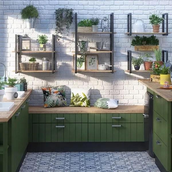 agrandir une cuisine verte esprit maison de campagne