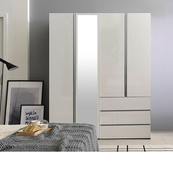 [삼익가구]그레이스 고광택 키큰옷장 1600세트(거울형800+서랍형800), 화이트