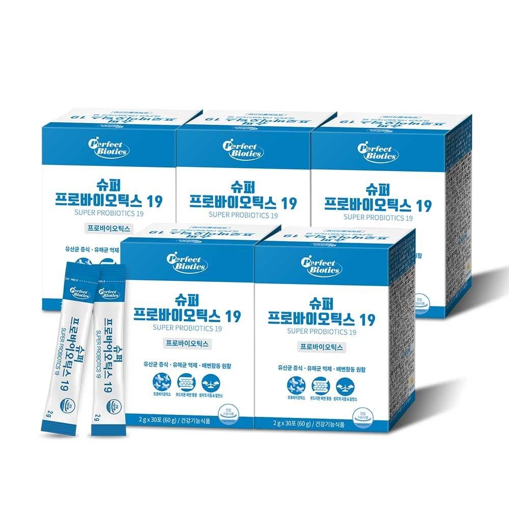 퍼펙트바이오틱스 프로바이오틱스 19 생 유산균 5박스 5개월분, 2g