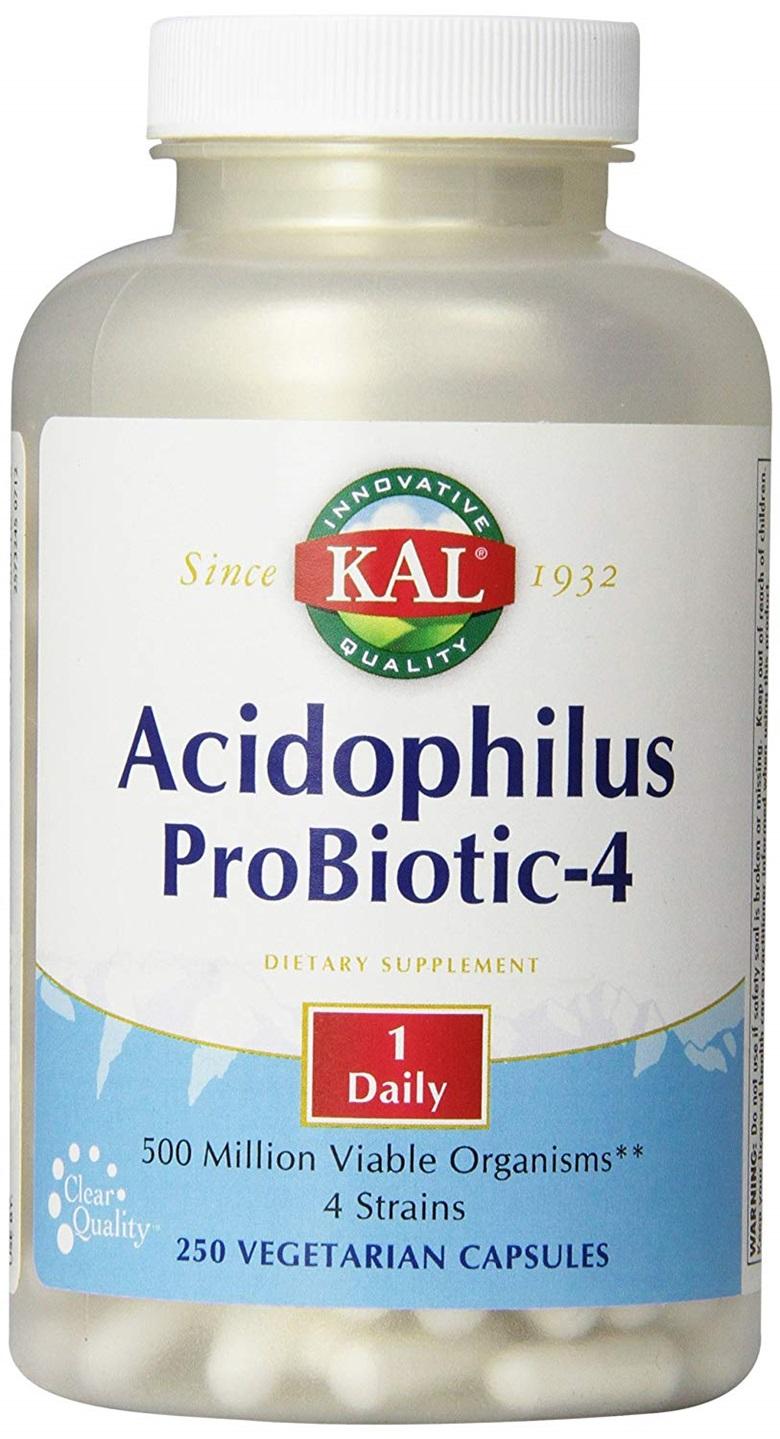 Kal 애시도필러스 프로바이오틱-4 유산균 베지테리안 캡슐, 250개입, 1개