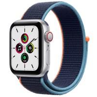 Apple 애플워치 SE, GPS+Cellular, 실버 알루미늄 케이스, 딥 네이비 스포츠 루프 (POP 2128457892)