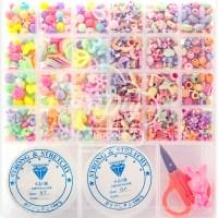 핑크공주 퐁퐁비즈공예 24칸 DIY세트 A02 파스텔라인 우레탄줄 2p 포함, 혼합 색상 (POP 180341489)