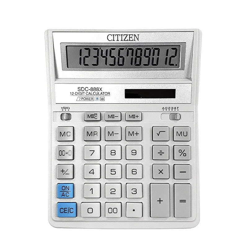 시티즌 대형 탁상용 전자 계산기 SDC-888XWH 12단, 아이보리