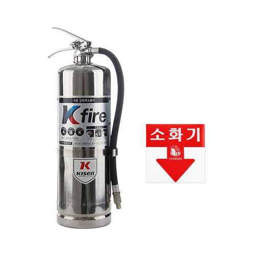 한국소방산업기술원 K급 소화기 4L + 스티커, 1세트