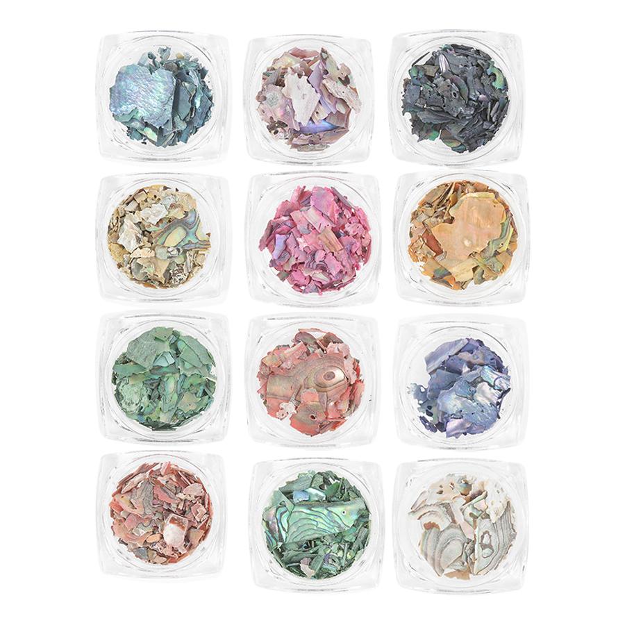 사라센 네일파츠 영롱자개 12종 세트, 혼합 색상, 1세트