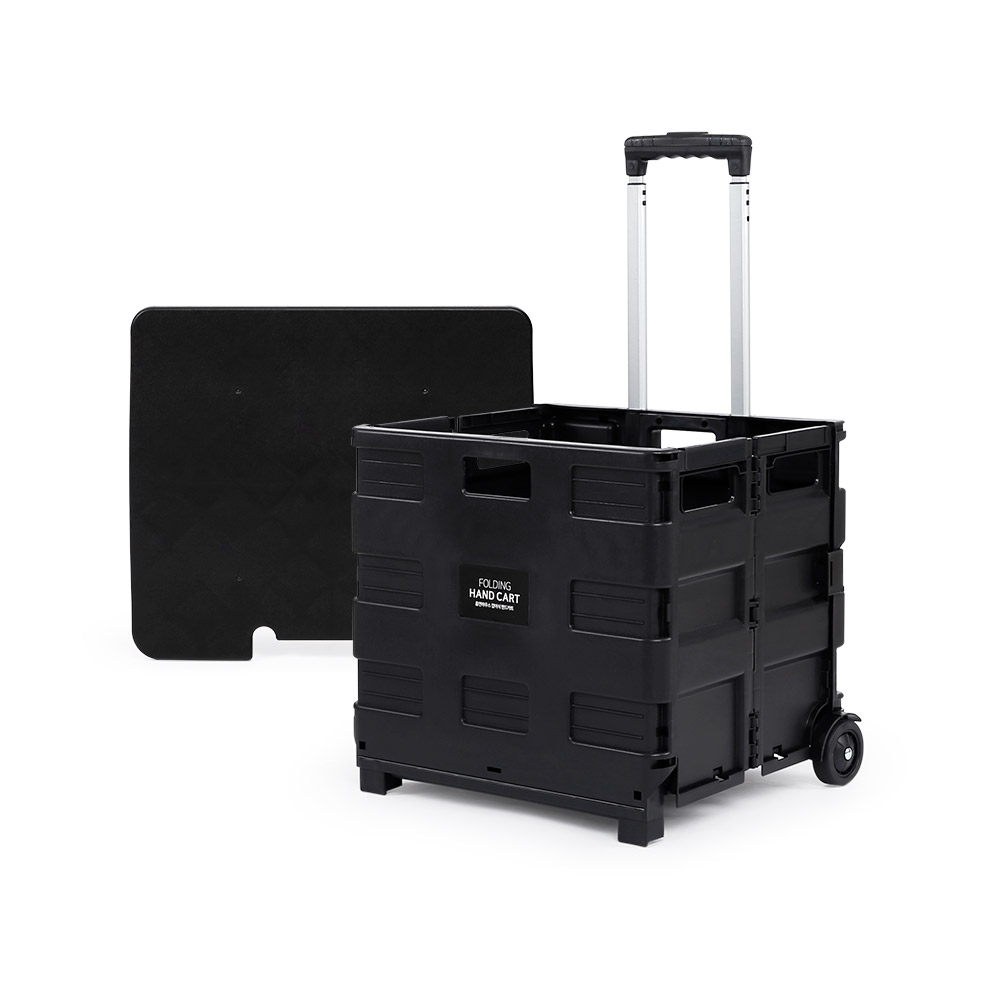 홈앤하우스 접이식 핸드카트 대형 35kg + 전용 뚜껑 세트, 블랙, 1세트