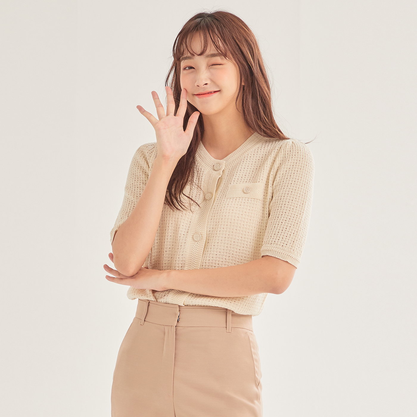 로엠 여성용 단추 포인트 변형 조직 가디건