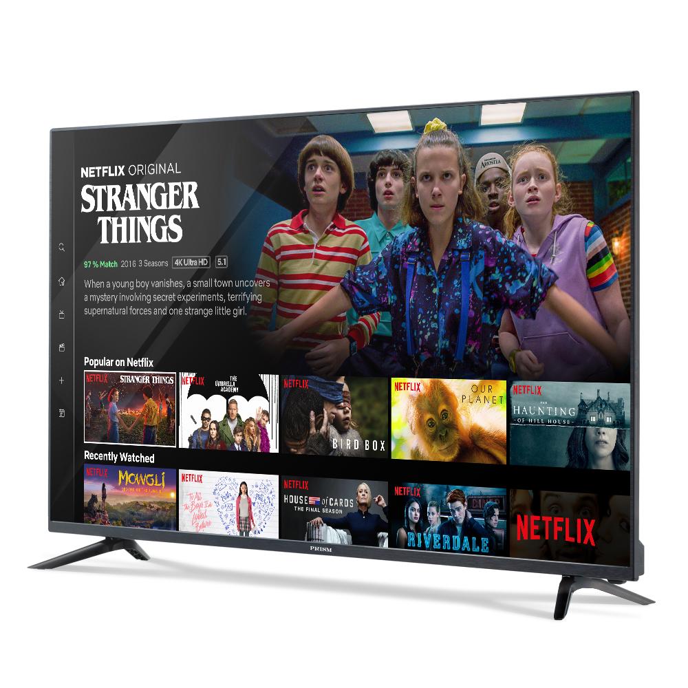 프리즘 스마트 4K UHD HDR TV 139.7cm NETFLIX 5.1 139.7cm PT55UL + HDMI 케이블, 스탠드형, 자가설치
