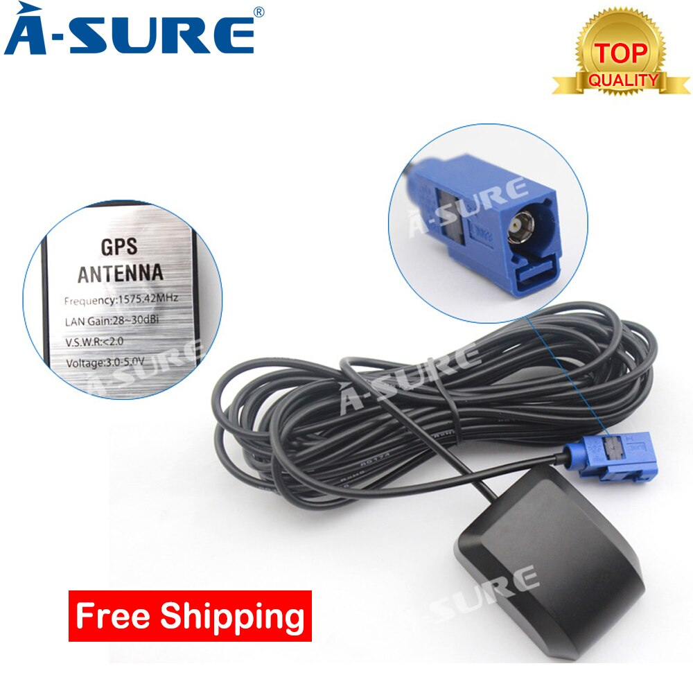 A Sure FAKRA GPS 안테나 FAKRA RNS 510 MFD3 RNS 500 BMW Audi VW Mercedes NTG 2.5 4 Comand APS Vauxhall Opel|GPS 수신 & 안테나|, 1개(A0), CHINA(A0), 단일(A0)