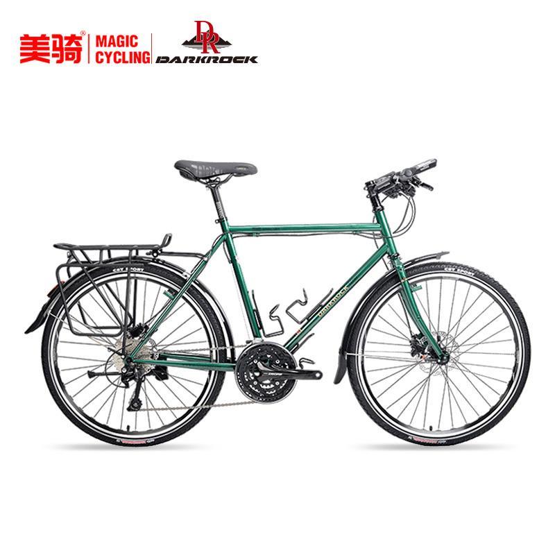 블랙 록 여행용 자전거 장거리 사이클링 투어링 자전거 26 인치 30 단 편안한 오프로드 장거리 사이클링 자전거, 육군 녹색 490MM