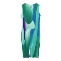 플리츠플리즈 Miyake Pleated Dress Womens Summer New Fashion Loose Large Size Printing Slim 원피스 32 (TOP 5912259296)