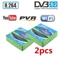 2pcs 디지털 위성 수신기 HD TV 튜너 DVB S2 수용체 유럽 디코더 V6 셋톱 박스 지원 Youtube USB WIFI 동글 7601, 협력사, EU 플러그 (TOP 5544362428)