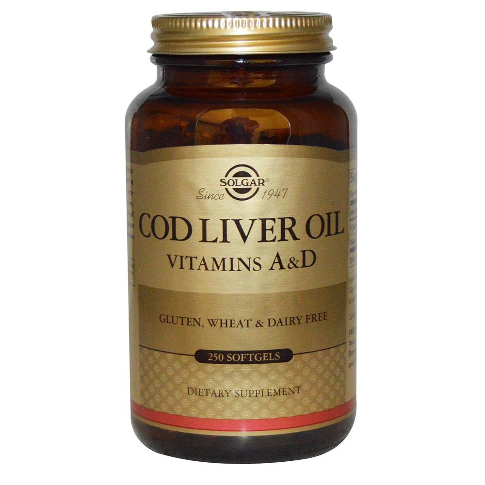 Solgar Cod Liver Oil Vitamins A D 솔가 노르웨이산 대구 간유 비타민A D 250정 2팩, 1정, 1개