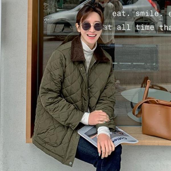 여성 봄 가을 아메리칸 클래식 퀼팅 바버 자켓