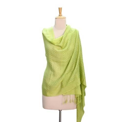 NOVICA Green Wool and Silk Shawl Lemon Green Bliss