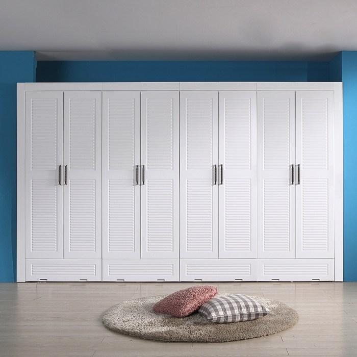 대도갤러리 키높이 올루바 서랍형 12자 장롱세트, 화이트