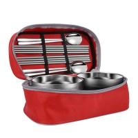 캠핑랜드 휴대용 수저 식기 4인세트 스텐 캠핑 그릇 (TOP 1949513442)