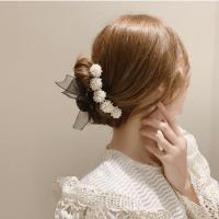 오간자 리본 비즈 진주 플라워 헤어 집게핀 대왕 올림 머리 반머리 클립 자동 핀 반묶음 (POP 5531277767)