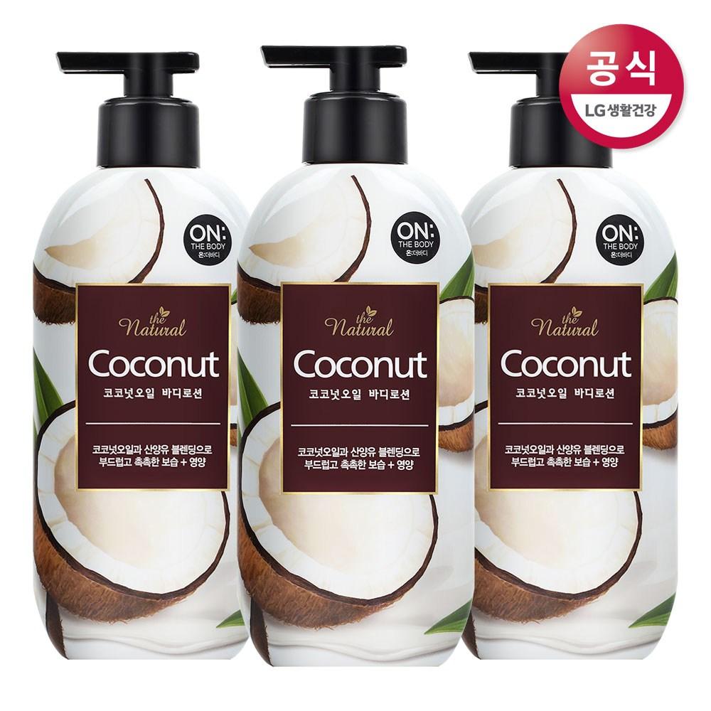 온더바디 더내추럴 코코넛오일 바디로션, 400ml, 3개