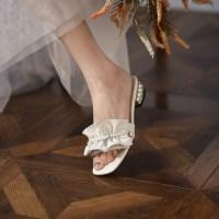 토앤토 쪼리 플립플랍 플랫 샌들 신발 패션 슬리퍼 패션 웨딩 진주 리벳 럭셔리 오픈 발가락 플러스 사이즈 (POP 6006084439)